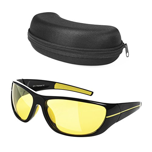 My Night Vision Glasses | Deluxe Anti-Glare UV400 Protected Polarized HD Night Vision Glasses for Safe Driving Lightweight Frame with Stylish Unisex Design Black Case Included | Black Yellow | - Is What Sunglasses Uv400