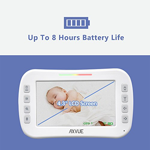 AXVUE E612 Video Baby Monitor with 4.3'' LCD Screen and Two Cameras, Night Vision, 800 ft. Distance and 8H Battery Life, Auto-Scan, Two Way Talk, View Angle Adj. , Power-saving Video ON/OFF by Axvue (Image #3)