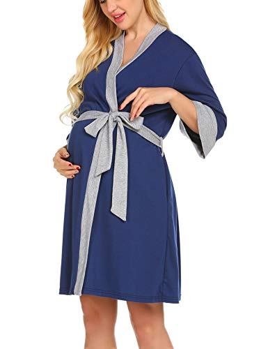 Ekouaer Maternity Nursing Robe Delivery Nightgowns Hospital Breastfeeding Gown