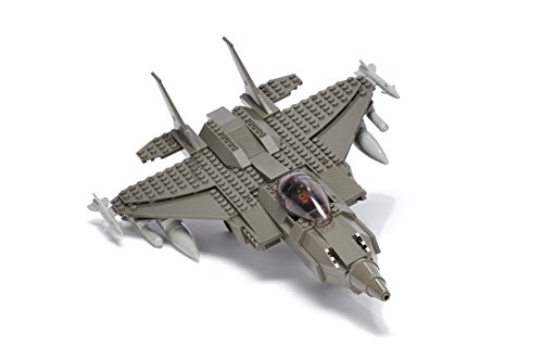 (Ultimate Soldier Fighter Jet Military Building Kit, Grey)