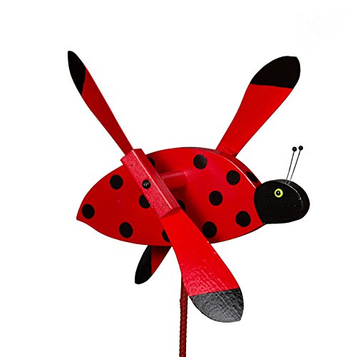 Amish-Made Whirlybird Yard Decoration, Ladybug (Whirly Bugs)
