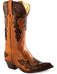 Old West Cowboy Boots Womens Goodyear Pointed Toe Barnwood 18055