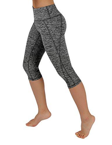 ODODOS Power Flex Yoga Capris Pants Tummy Control Workout Running Non See-through Fabric Yoga Capris Leggingss With Hidden Pocket,CharcoalHearher,Large