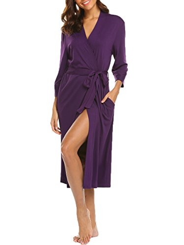 BLUETIME Womens Cotton Kimono Robes Long Bathrobe Nightwear (XXL, Purple) -