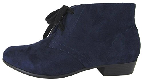 City Classified Comfort Womens Round Toe Lace-Up Low Stacked Heel Ankle Bootie Deep Navy Imsu 38r9Fy
