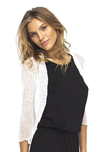Back From Bali Bolero Lite White Womens Sheer Shrug Cardigan Light Jacket