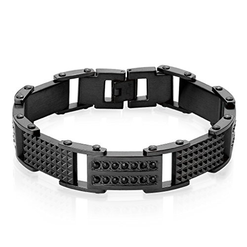 S&H JEWELRY Double Lined CZ and Spiked Plates Linked Black IP Stainless Steel ()