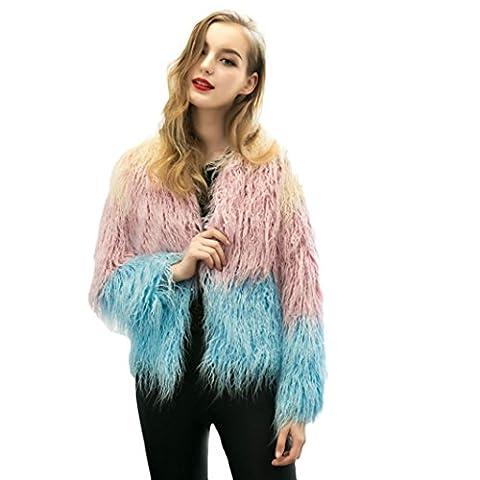 AMA(TM) Women Long Sleeve Faux Fox Fur Coat Long Hair Jacket Outerwear (XL, Purple)