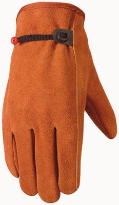 Wells Lamont Suede Work Gloves with Bucktan Split Cowhide Ball & Tape, Keystone Thumb