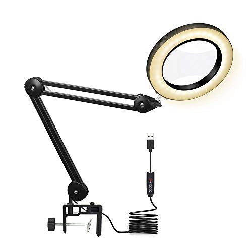 Magnifying Glass Desk Lamp with Clamp - Yellow Warm White Lighted 5X Magnifier Lens with Adjustable Swivel Arm for Reading Rework Craft Workbench