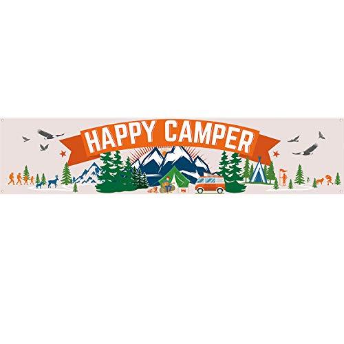 Summer Theme Parties (Happy Camper Banner, Camping Party Decorations Camping Decorations Camp Party Bunting Banner Camping Theme Party Supplies, 70.9 x 15.7)