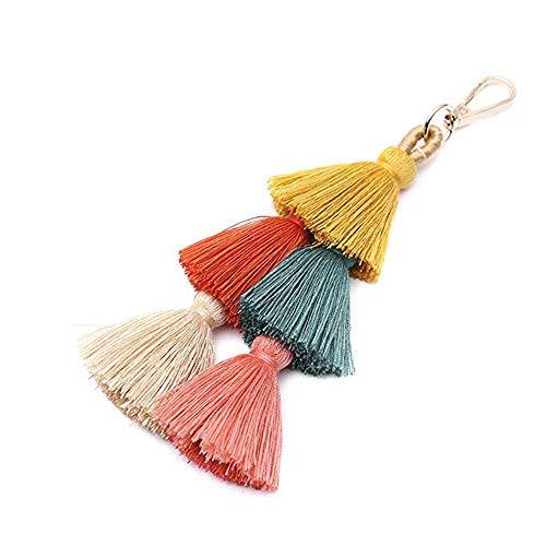 BRUCEWANG Hand Made Colorful Bohemian Pom Pom Tassel Bag Charm Keychain-Valentine's Day Gife (Colorful-yellow)