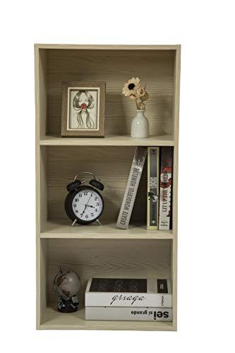 JEROAL 3-Shelf Wooden Bookshelf, 3 Cube Storage Organizer, Display Bookshelf Storage Organizer for Books, Pictures, Decorations, White Oak