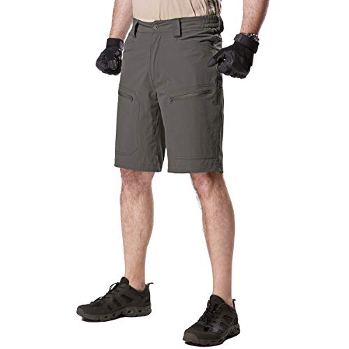 - FREE SOLDIER Men's Cargo Shorts Ultralight Quick Dry Stretch Short Nylon Tactical Pants Shorts (Grey, 40W)