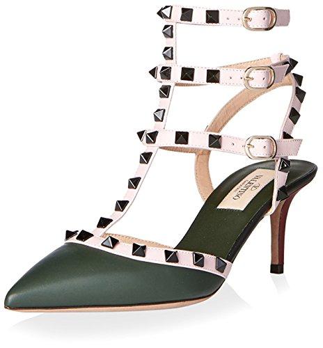 Valentino Women's Rockstud Ankle Strap Pump, Multicolor, 36 M EU/6 M US
