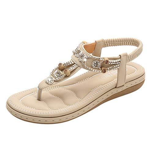 ◕‿◕Watere◕‿◕ Flat Sandals for Women Casual Clip Toe Sandals Bohemia Rhinestone Flower Beaded Comfort T-Strap Sandals Beige -