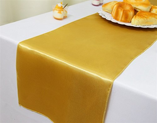GFCC Pack of 10 Gold Satin Table Runner 12 x 108 Inches for Wedding Party Events Decoration
