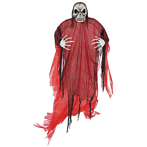 Amscan Giant Spooky Red Reaper Decoration, Hanging Prop Features a Skull Face and Poseable Arms, Measures 7 Feet Tall