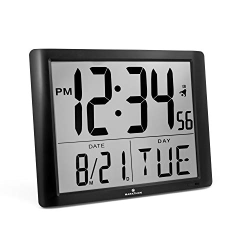 Marathon CL030061BK Super-Jumbo Commercial Grade Digital Atomic Wall Clock with 7-Inch Digits - Batteries Included (Turn Signal Model)