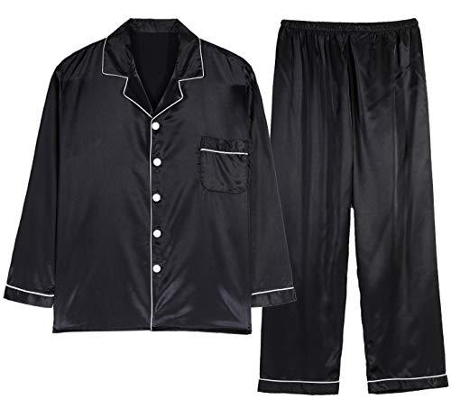 Respeedime Autumn Home Service Silk Pajamas Summer Men 's Long Sleeved Trousers Two Sets Sleepwear Black-Gray M