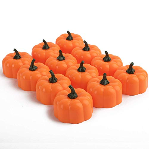 Homemory 24 Pack Small Pumpkin Tea Lights, Battery Operated LED Tealight Candles, Flilckering Amber Yellow Lights, Special for Halloween, Holiday, Theme Parties (Pumpkin Luminaries Outdoor)