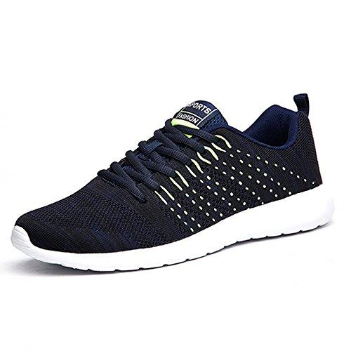 Chaussures de sport pour hommes femmes maille respirante chaussures de sport de plein air Lace-Up Men's Sneakers Light chaussures de course Blue un6qanp16g