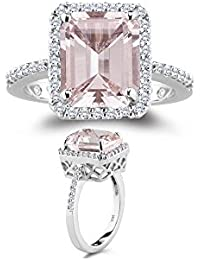 0.26 Cts Diamond & 2.65 Cts of 10x8 mm AAA Morganite Ring in 14K White Gold