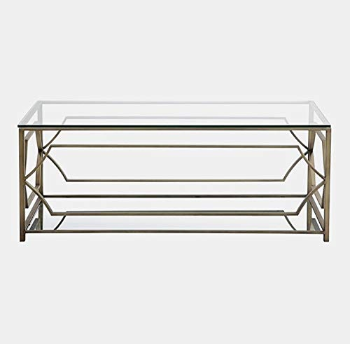 Metal Base Coffee Table with Glass Top - Coffee Table with Bottom Shelf - Brass