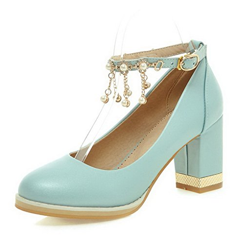 VogueZone009 Women's High-Heels Soft Material Solid Buckle Round Closed Toe Pumps-Shoes Blue XgWl6