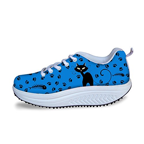 Platform Cat U Cartoon Breathable Shoes FOR Wedges up Woman 3 Casual Lace DESIGNS Swing Cat vwWTU1Hq