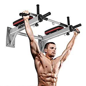 ONETWOFIT Wall Mounted Pull Up Bar Chin Up Exercise Bar Gym Dip Station Home Full Body Trainer with Punching Bag Eyelet for Boxing Power Ropes, White
