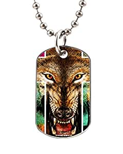 WOLF CROSS PRINT ANIMALS Customized Dog Tag Pet Tags dogtag Necklace Charm Unique Gift