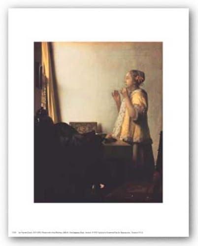 New York Graphic Society Mujer con un Collar de Perlas de Jan Vermeer Póster