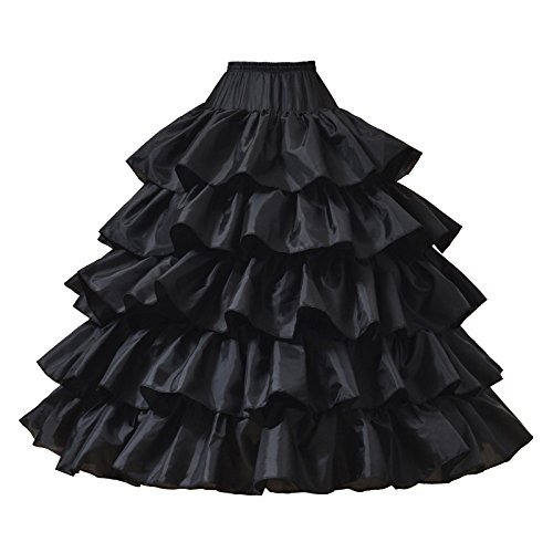 (AW Ball Gown Petticoat Skirt Floor Length Wedding Petticoat Black Crinoline Underskirt with Detachable Hoops, Medium)