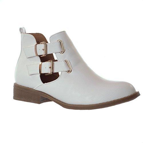 CHELSEA Dorado para Mujer cortarse para adaptarse a tus de bajo en el talón botas de cierre magnético de tobilleras con peso zapatos de bloque de diseño de la - blanco (Faux Leather)