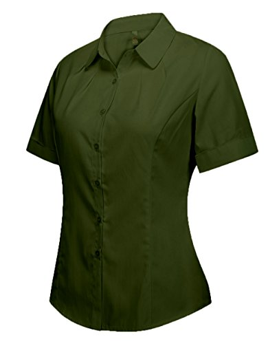 Basic Shirt Button Down Short Sleeve Blouse Army Green 16 ()