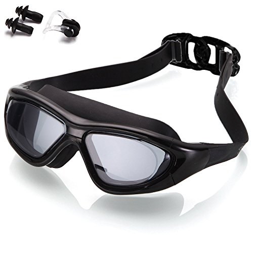 Adult Standard Goggles (Naga Sports Diver Swimming Goggles - Anti Fog Anti Shatter Leakproof Waterproof with UV Protection for Men Women Youth Adults - Black)