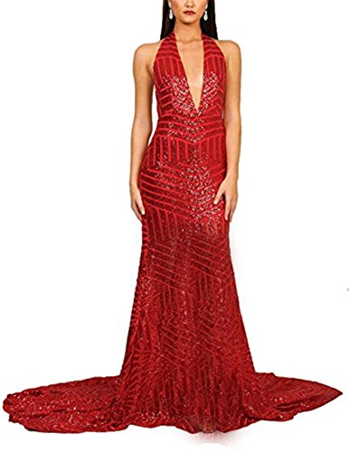 Plunge Halter Gown (YSMei Womens Halter Deep V Neck Sequin Evening Prom Dresses Split Long Formal Party Gown Red 06)