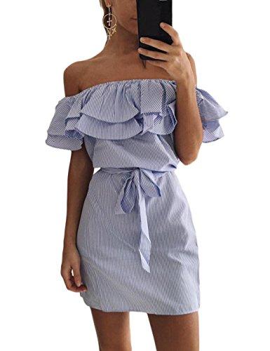 Aifer Ruffles Dresses Off Midi Casual Strapless Dresses Bule Striped Summer Shoulder Women's 8qrYF8