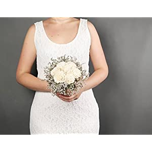 Small Rustic Wedding Bridesmaids Bouquets Made of Ivory Flowers Dried Limonium Burlap Lace and Pearl Pins 54