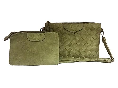 gris La coleur Pièces à femmes poches les Loria Vert à femmes Sac tressé en Parure main sac 3 Weave bandoulière XXL HUHfWnr