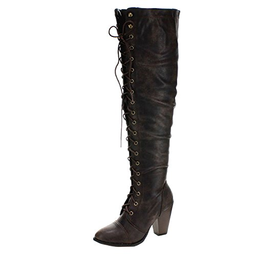 Forever Women's Knee-High Lace-Up Boot Brown 8