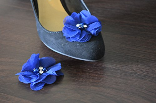 Detachable Chiffon and Rhinestone Flower Shoe Clips Royal Blue Set of 2