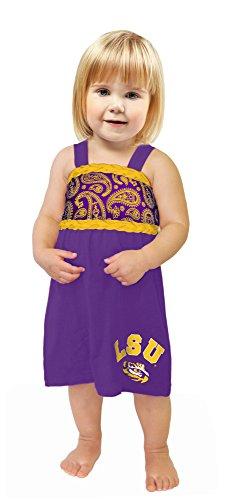 NCAA Lsu Tigers Girls Infant Braided Paisley Dress, 0-3 Months, Purple