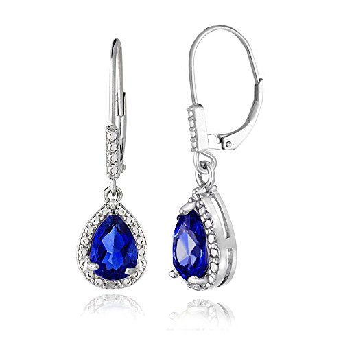 Created Sapphire Sterling Silver Earrings - 8