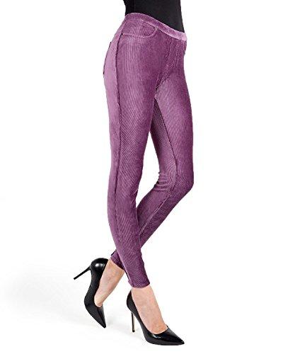 - MeMoi Thin-Rib Stretch Corduroy Leggings   Women's Premium Leggings Purple Grape MQ 001 Medium/Large