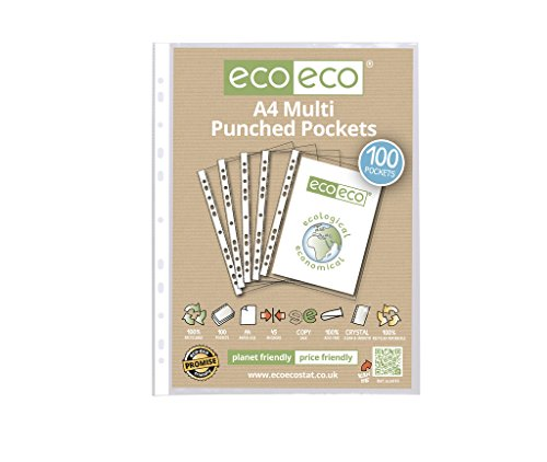 100 x eco-eco A4 100% Recycled Smooth Glass Clear Punched Plastic (Eco Punched Pocket)