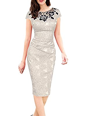 OTEN Women's Bodycon Patchwork Formal Midi Cocktail Evening Prom Party Dress