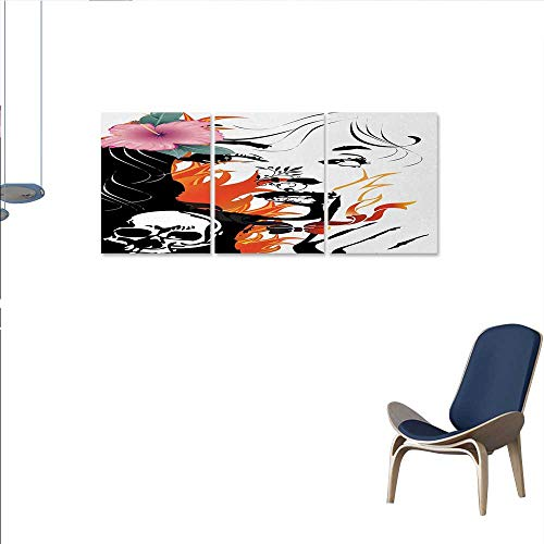 Anniutwo Tattoo yin Art Split Canvas Print Wall Attractive Women with Pink Flower in her Hair Near a Skull Design Wall Decor Sticker 16″x32″x3pcs Orange Pink Black and White