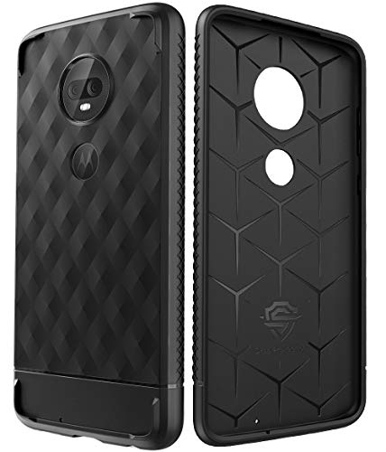 CaseWe - Motorola Moto G7/G7 Plus Protective Stylish Rubber Phone case, Flexible Slim Cover - Special Design with Trend 3D Texture (2019) - All Black Matte
